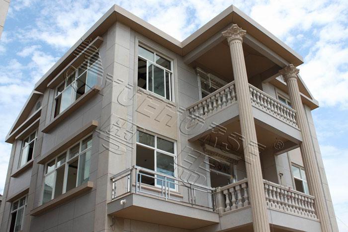真石漆别墅施工效果图外墙解决方案-别墅庭院绿化设计施工效果图